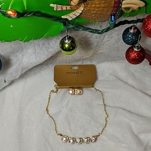 Monet Crystal Necklace/Earrings Gift Set